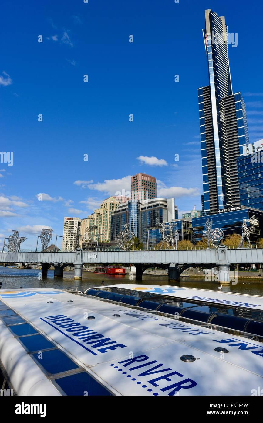 Melbourne crucero en barca por el Río Yarra, Melbourne, VIC, Australia Foto de stock