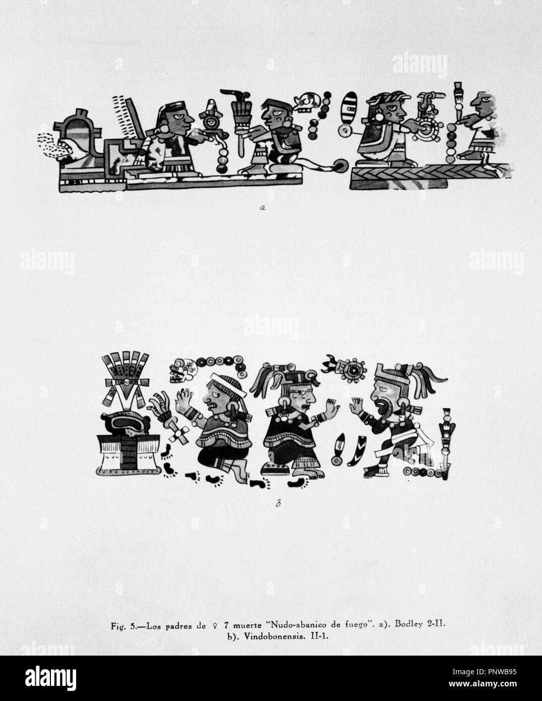GRABADO - PICTOGRAMAS DE DOS MANUSCRITOS MESOAMERICANOS - A) CODICE BODLEY B) CÓDICE VINDOBONENSIS - SIGLO XVI. Ubicación: EL INSTITUTO DE COOPERACION IBEROAMERICANA. MADRID. España. Foto de stock