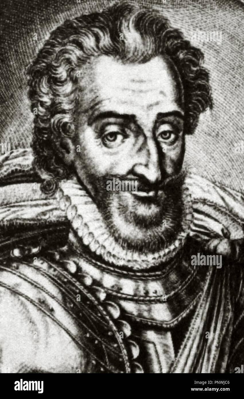 Enrique IV de Francia (1553-1610). Rey de Navarra como Enrique III de 1572-1610 y de 1589-1610, Rey de Francia. Retrato. Grabado. Foto de stock