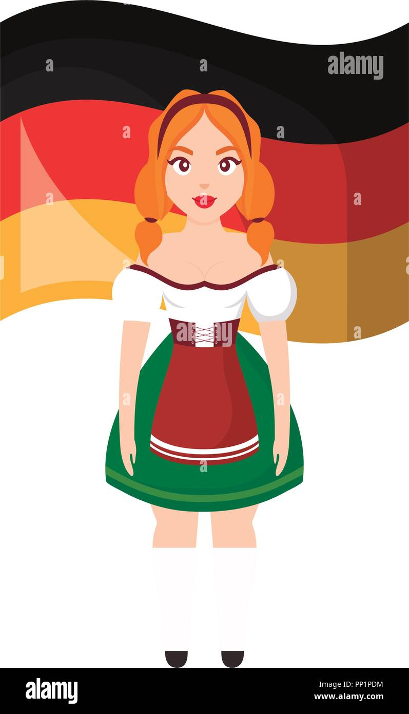 971cec961 Bandera Alemana y mujer vistiendo un traje típico bávaro icono sobre ...