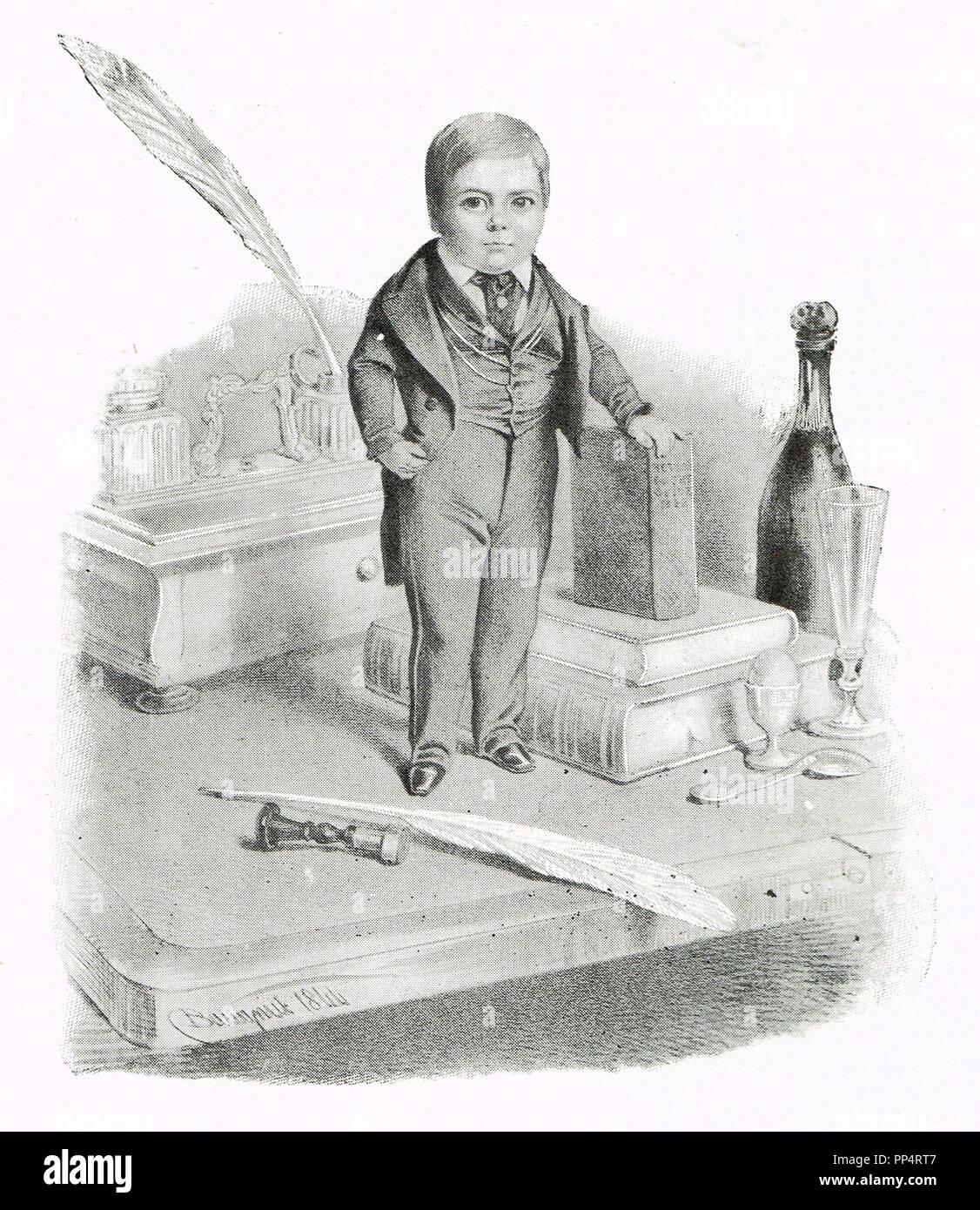 Charles Sherwood Stratton, mejor conocida por su nombre artístico General Tom Thumb, en 1844, en una visita a la Reina Victoria Foto de stock