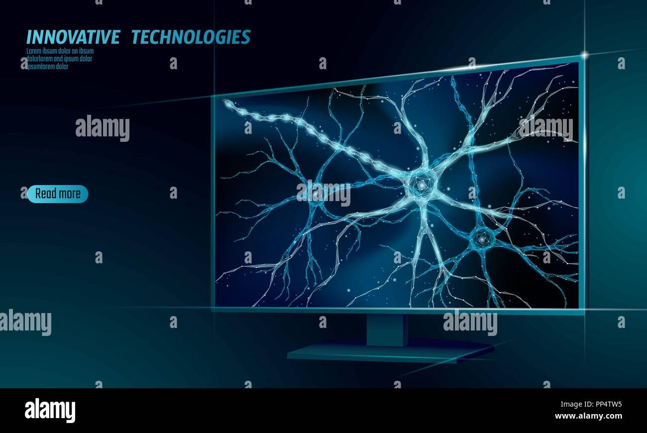 Neuron baja Anatomía Humana poli concepto. Tecnología de red neural artificial casa inteligente mostrar cloud computing. AI 3D biología sistema abstracto. Poligonal brillante azul ilustración vectorial Imagen De Stock