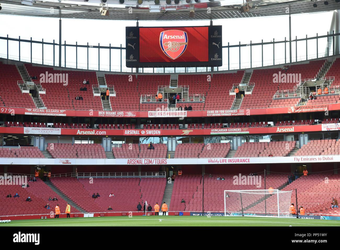 Londres, Reino Unido. El 23 de septiembre de 2018. Vista general de la Premier League entre el Arsenal y el Everton en el Emirates Stadium el 23 de septiembre de 2018 en Londres, Inglaterra. (Foto por Zed Jameson/phcimages.com) Crédito: Imágenes de APS/Alamy Live News Foto de stock