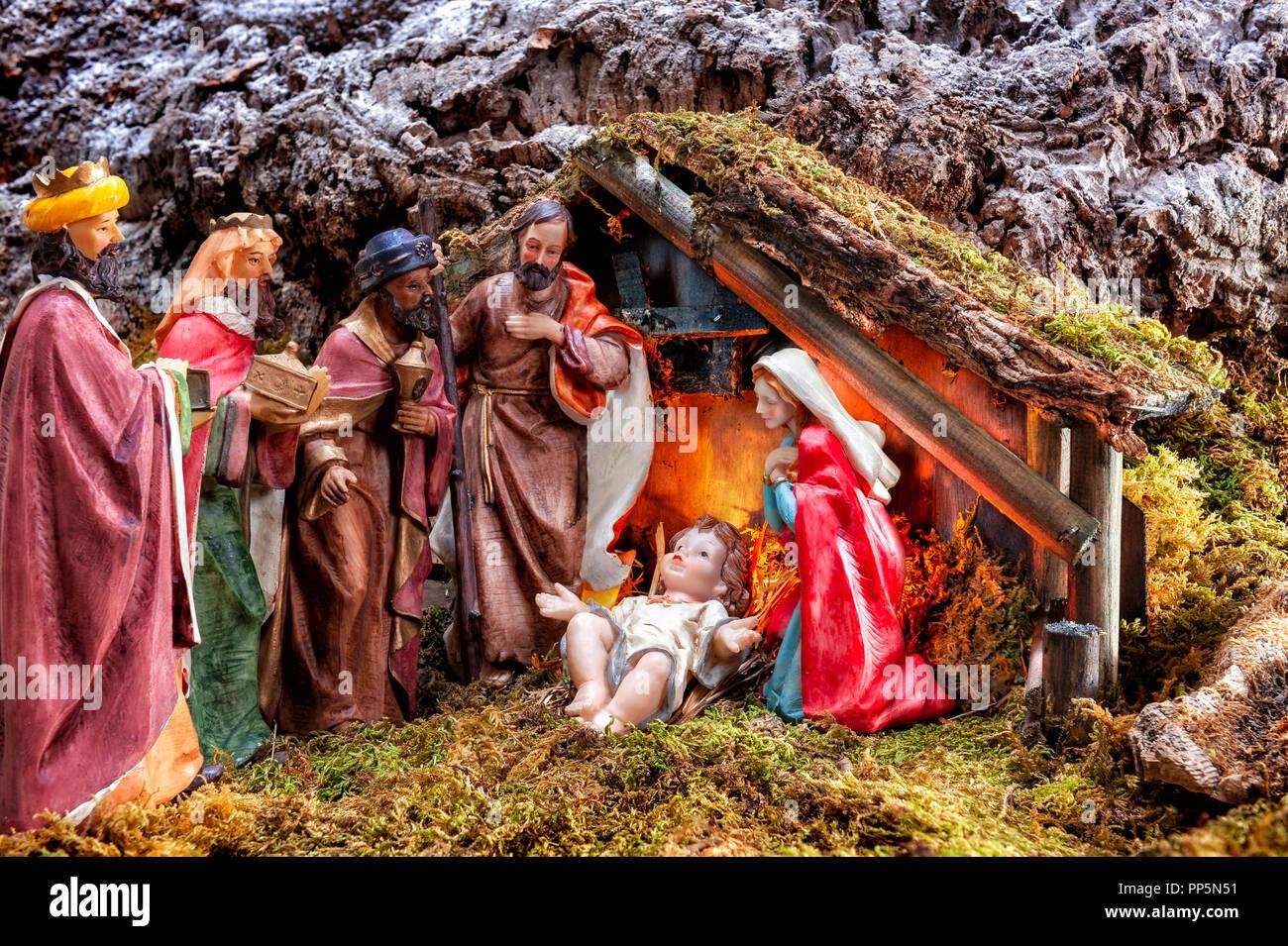 Fotos De El Pesebre De Jesus.Cerca Del Pesebre Navideno Cabana Con El Nino Jesus En El