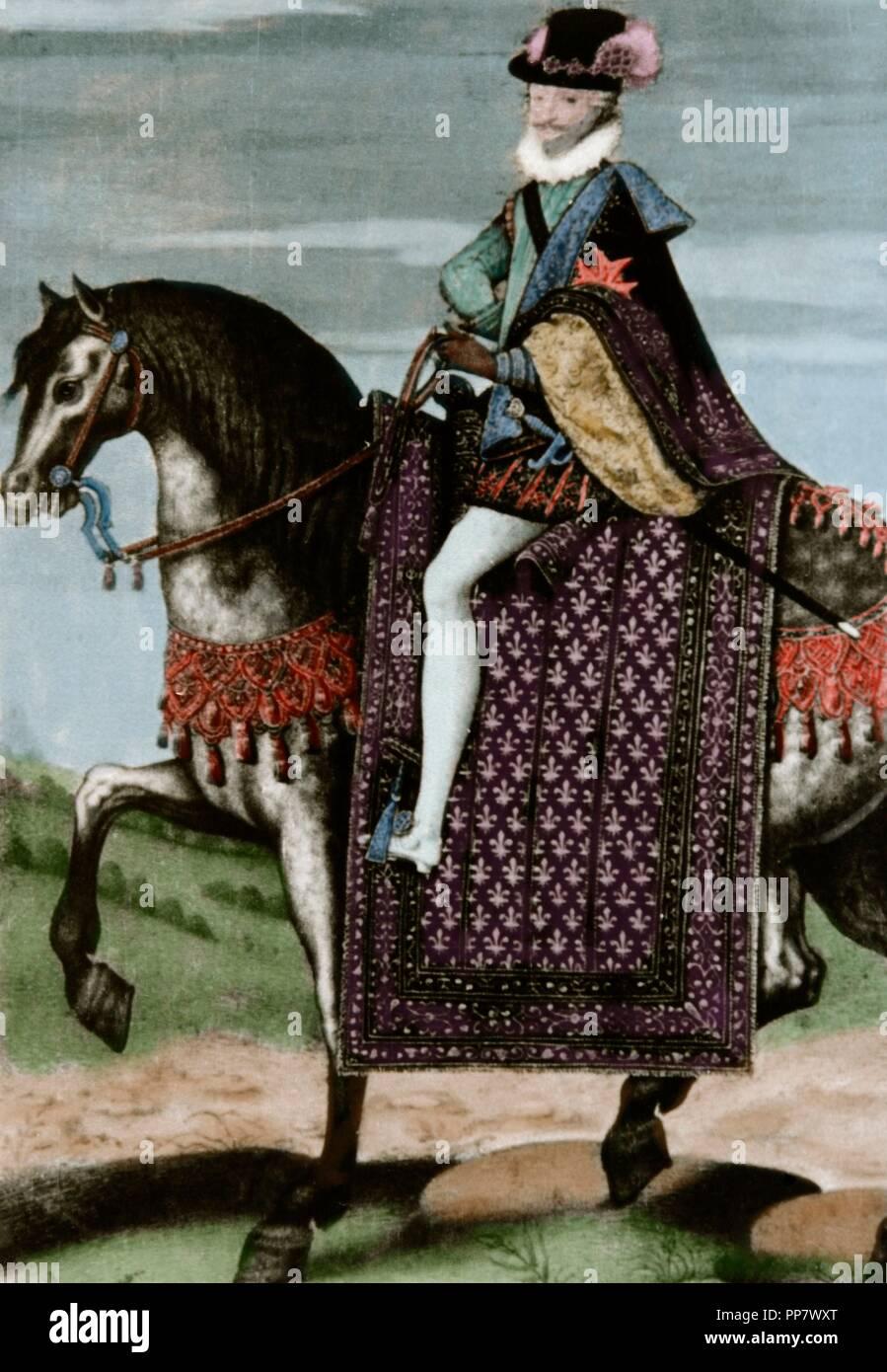 Enrique IV de Francia (1553-1610). Rey de Navarra como Enrique III de 1572-1610 y de 1589-1610, Rey de Francia. Retrato ecuestre. Grabado. Coloreada. Foto de stock