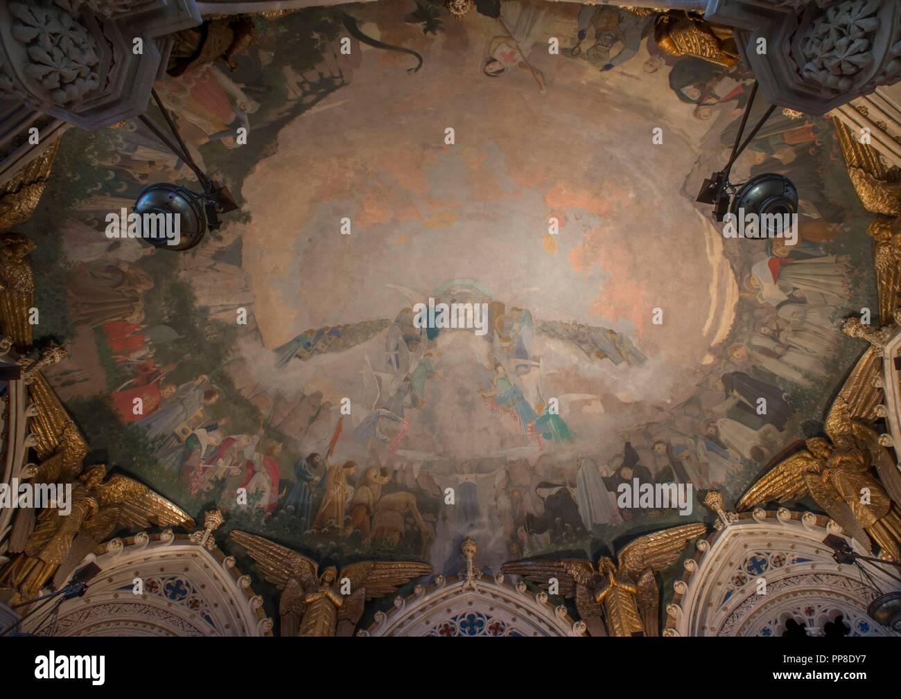 Apoteosis de la Virgen, 1896-1898. Pintura mural de la cúpula del cambril de la Virgen. Monasterio de Montserrat. Cataluña. Autor: Llimona, Joan. Foto de stock