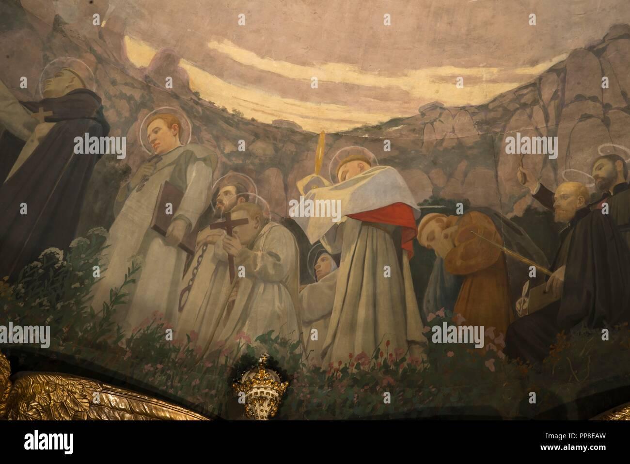 Detalle del Apoteosis de la Virgen, 1896-1898. Pintura mural de la cúpula del cambril de la Virgen. Monasterio de Montserrat. Cataluña. Autor: Llimona, Joan. Foto de stock