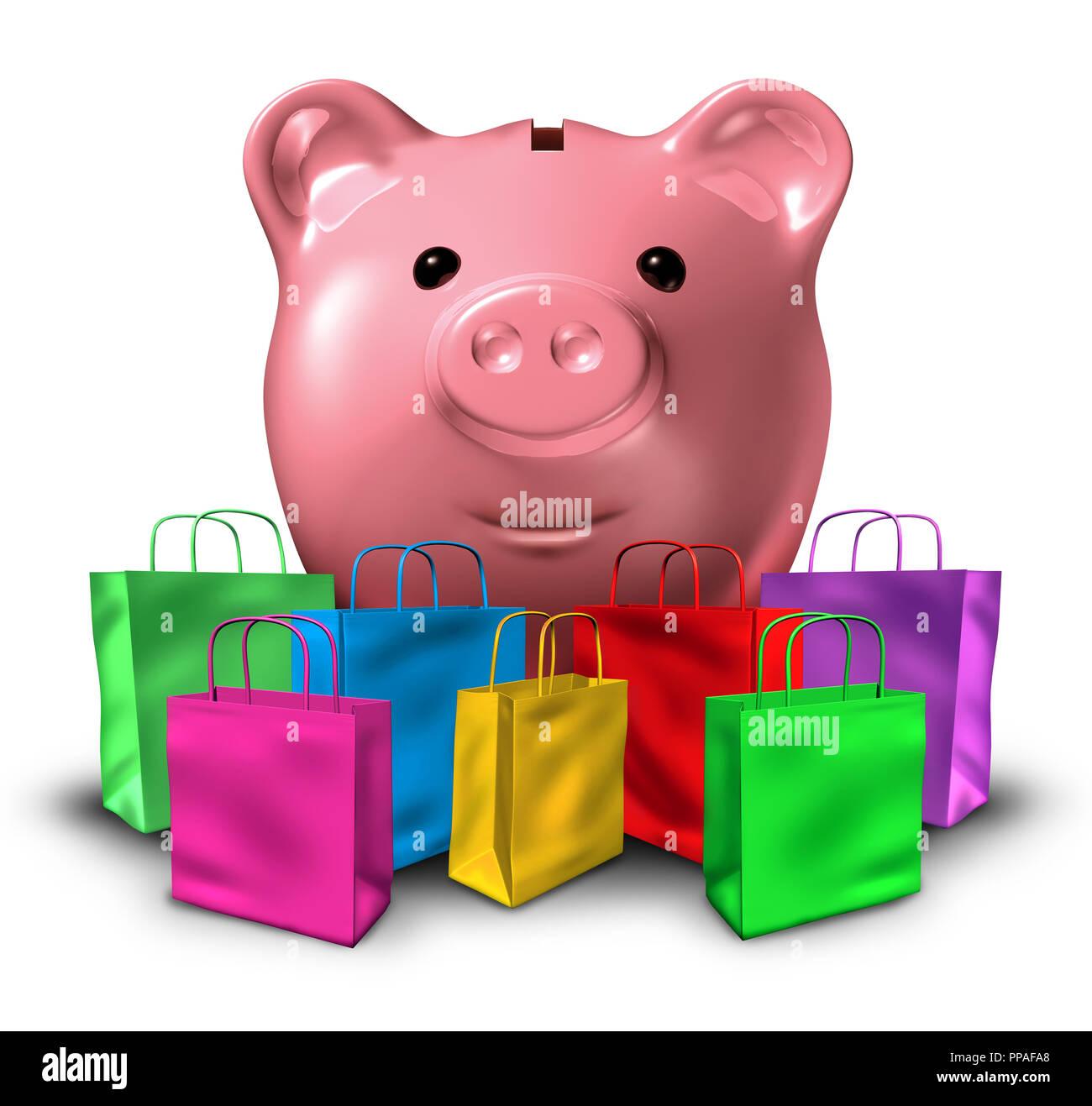 La deuda de consumo y gasto del presupuesto comercial concepto y consumismo con bolsas de compras y una alcancía que representa el crédito de la tienda y la presupuestación. Foto de stock