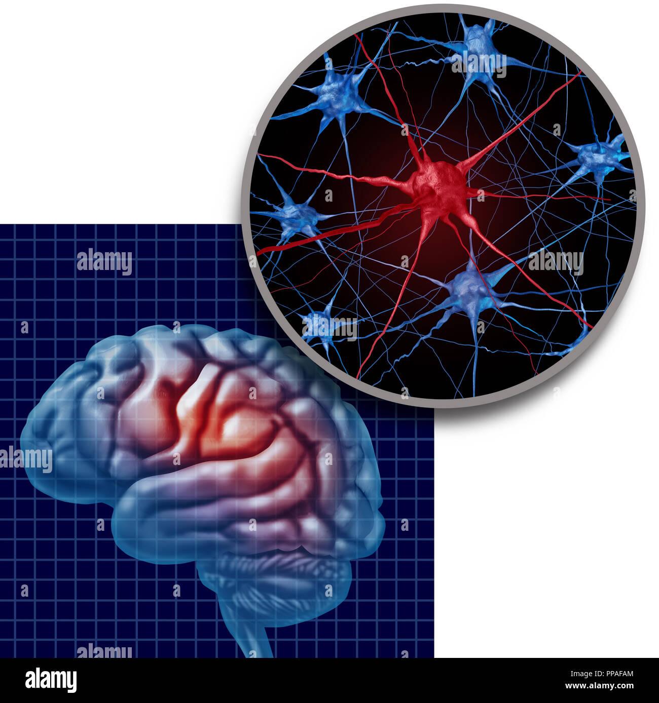 Concepto de anatomía cerebral Parkinson enfermedad del paciente de Parkinson y la enfermedad de Parkinson los síntomas del trastorno como una cabeza humana con las neuronas. Imagen De Stock