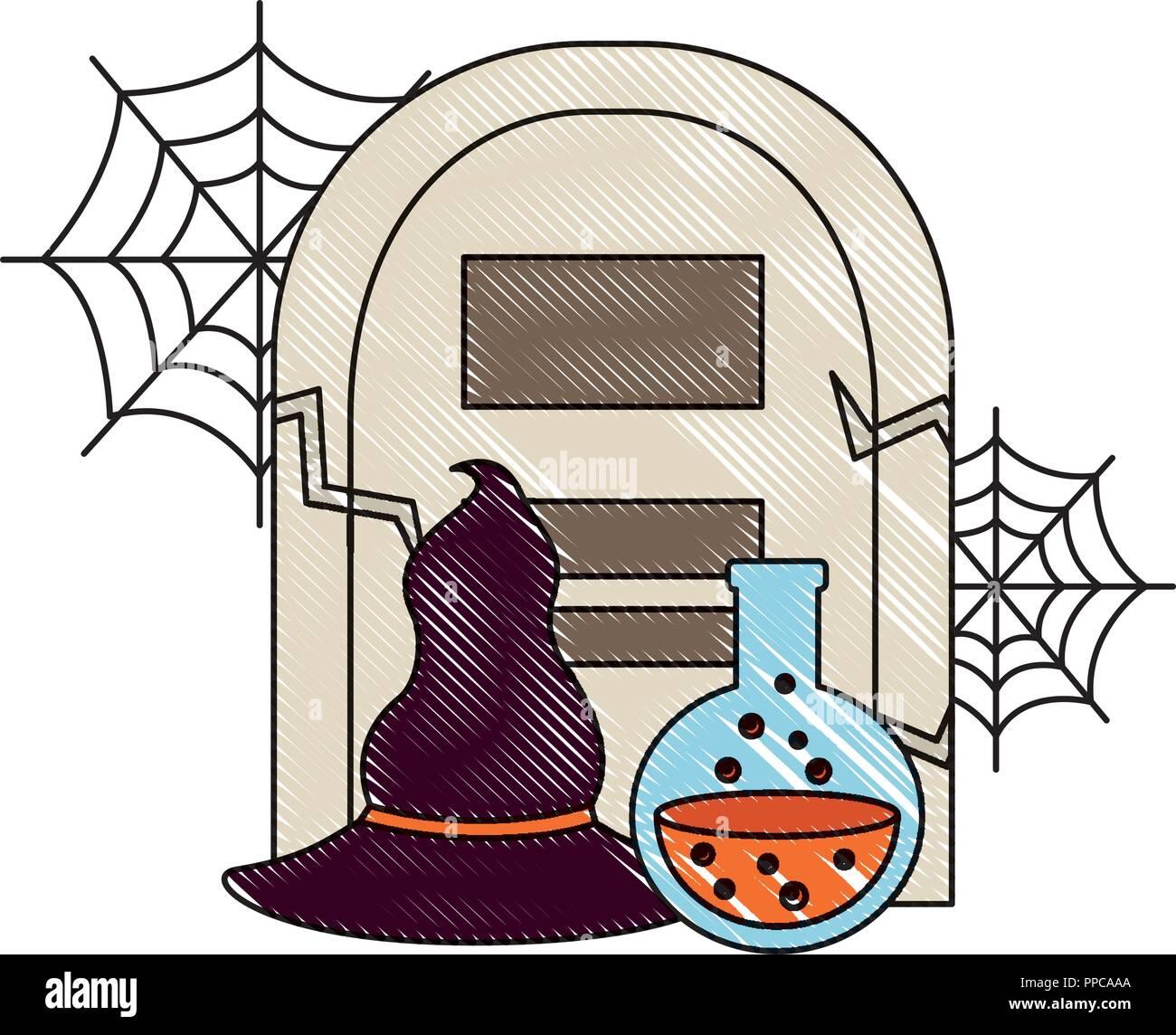 085cbd7cef539 Tumba de halloween sombrero y frasco de poción ilustración vectorial Imagen  De Stock