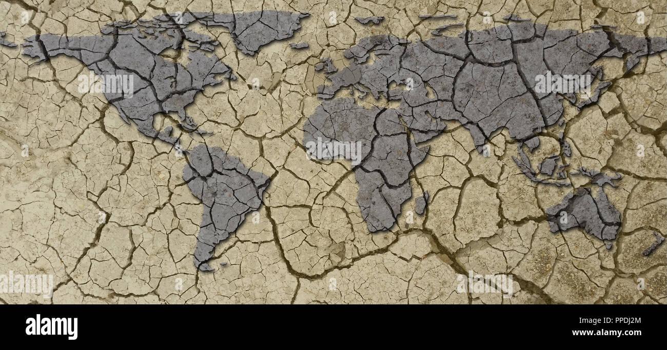 Banner seca Tierra Árida sequía Mapa concepto con barro agrietado Imagen De Stock