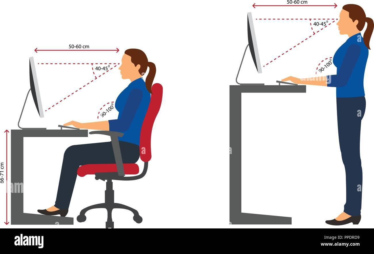 Ergonomía: la silueta de la mujer correcta postura sentado y de ...