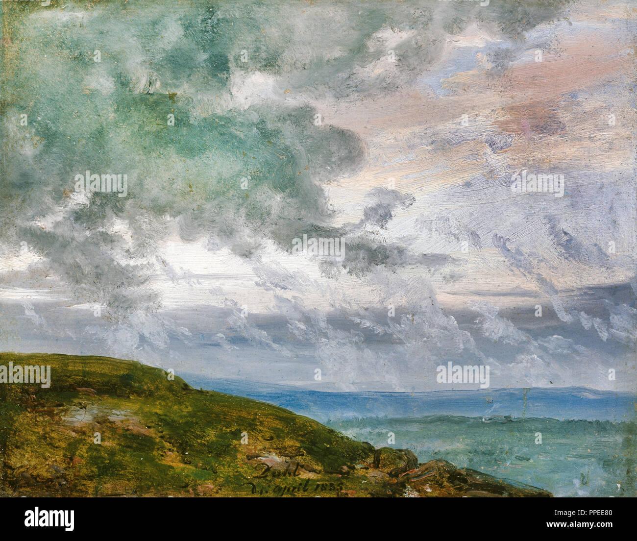 Johan Christian Dahl - Estudio de nubes 1835 Óleo sobre papel. Galería Nacional de Noruega, Oslo, Noruega. Imagen De Stock