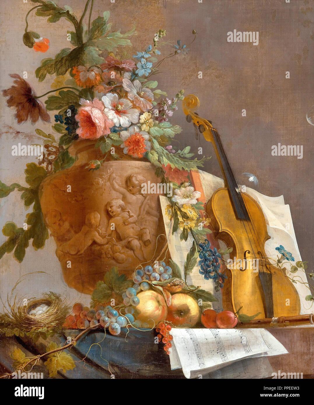 Jean-Jacques Bachelier, Bodegón con flores y un violín. Circa 1750. Óleo sobre lienzo. Galería de Arte de Australia del Sur, la terraza Norte, Australia. Imagen De Stock