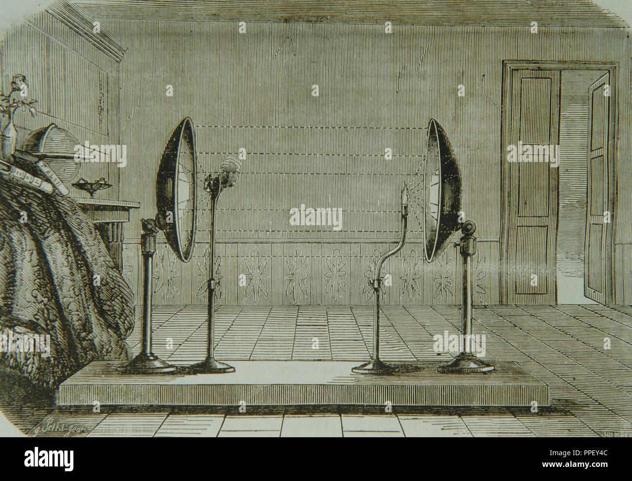 Experimento con espejos cóncavo. Los rayos reflejados en el espejo, a la misma distancia del eje principal, son simétricos. En el punto donde chocan, encontrará el punto focal o foco principal del espejo. Grabado, 1858. Foto de stock