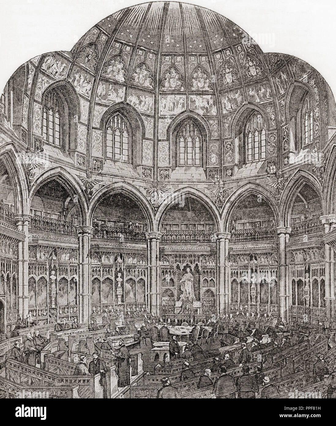 La nueva sala del consejo común, Guildhall, de Londres, Inglaterra en el siglo XIX. Imágenes de Londres, publicado el año 1890. Imagen De Stock