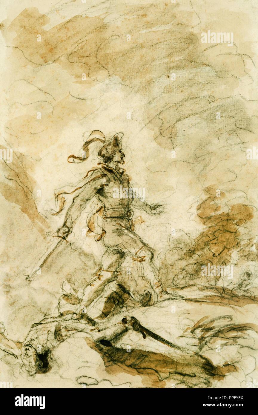 Jean-Honore Fragonard, Odorico Mata Corebo y establece en la búsqueda de Isabel. Sin fecha. Carboncillo, Tinta Marrón lava. Phillips Collection, Washington, Imagen De Stock