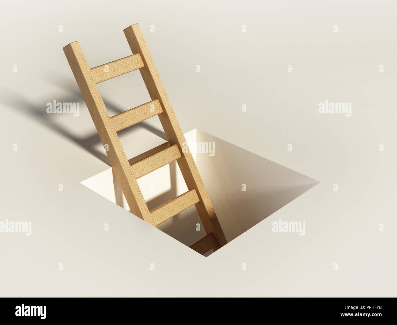 Escalera de madera se eleva por encima del orificio cuadrado en el suelo. Imagen De Stock