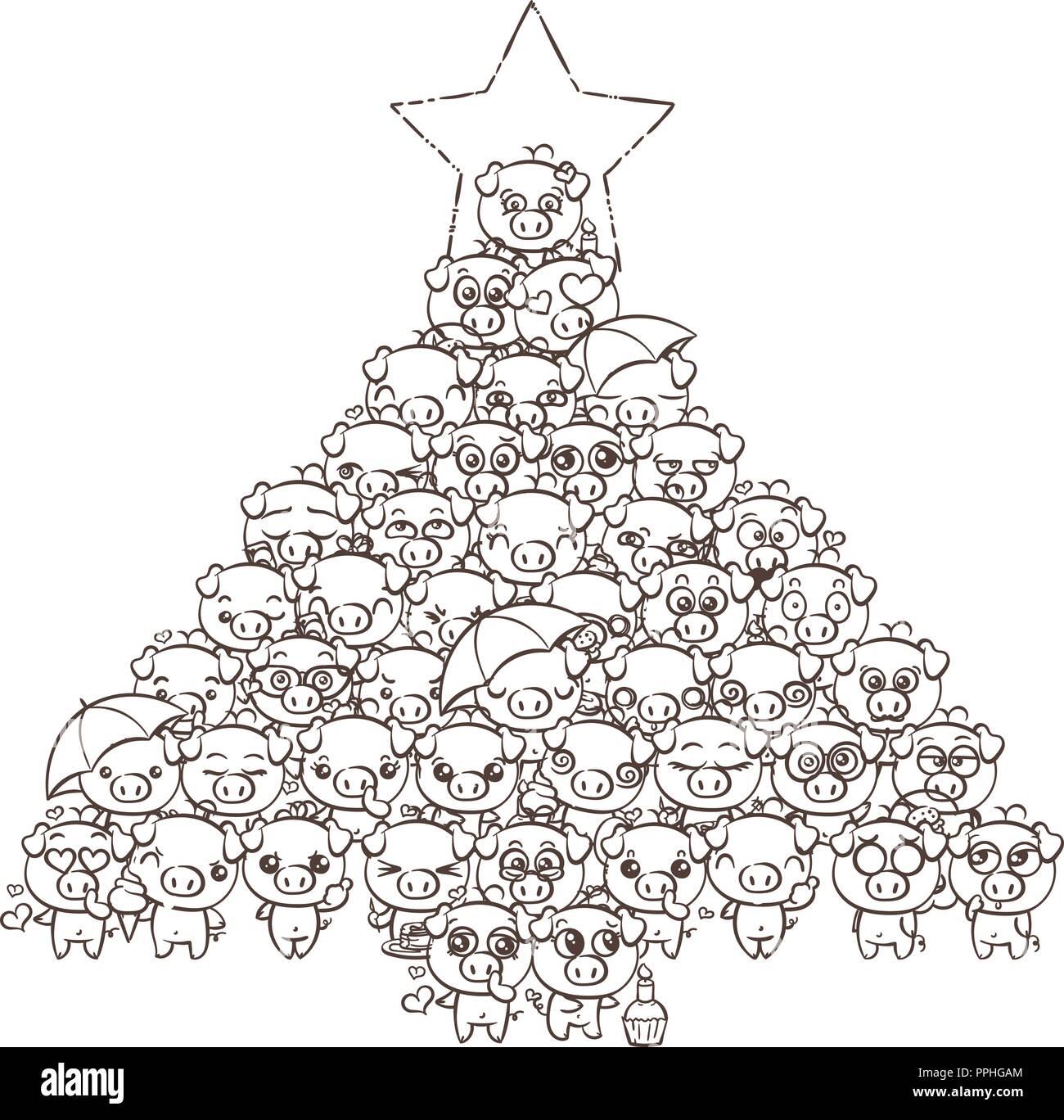 Fondo Del Ano Nuevo Con Lindos Bebes Lechones Imagen De Dibujos
