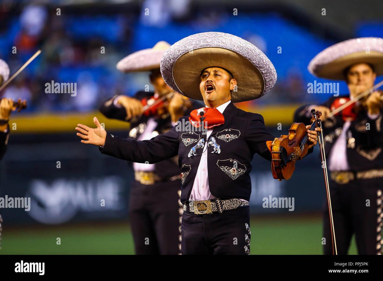 Béisbol afectada ponga el color y la atmósfera de los Charros de Jalisco estadio, durante los partidos de los equipos de México, Cuba, Puerto Rico, República Dominicana Volver Imagen De Stock