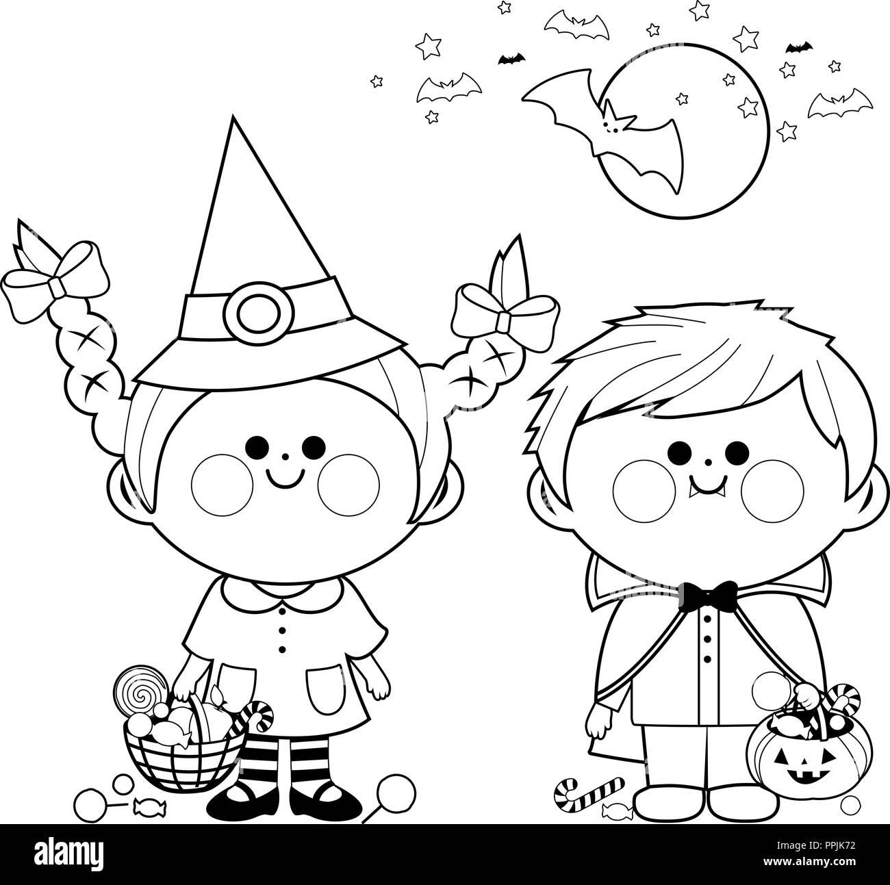Niños Vestidos Con Disfraces De Halloween Mantenga Cubos Con
