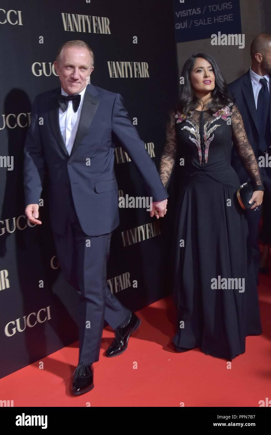 Slama Hayek y su marido François-Henri Pinault, Vanity Fair Personalidad del Año Premios 2018 en Madrid el miércoles 26 de septiembre de 2018. Imagen De Stock