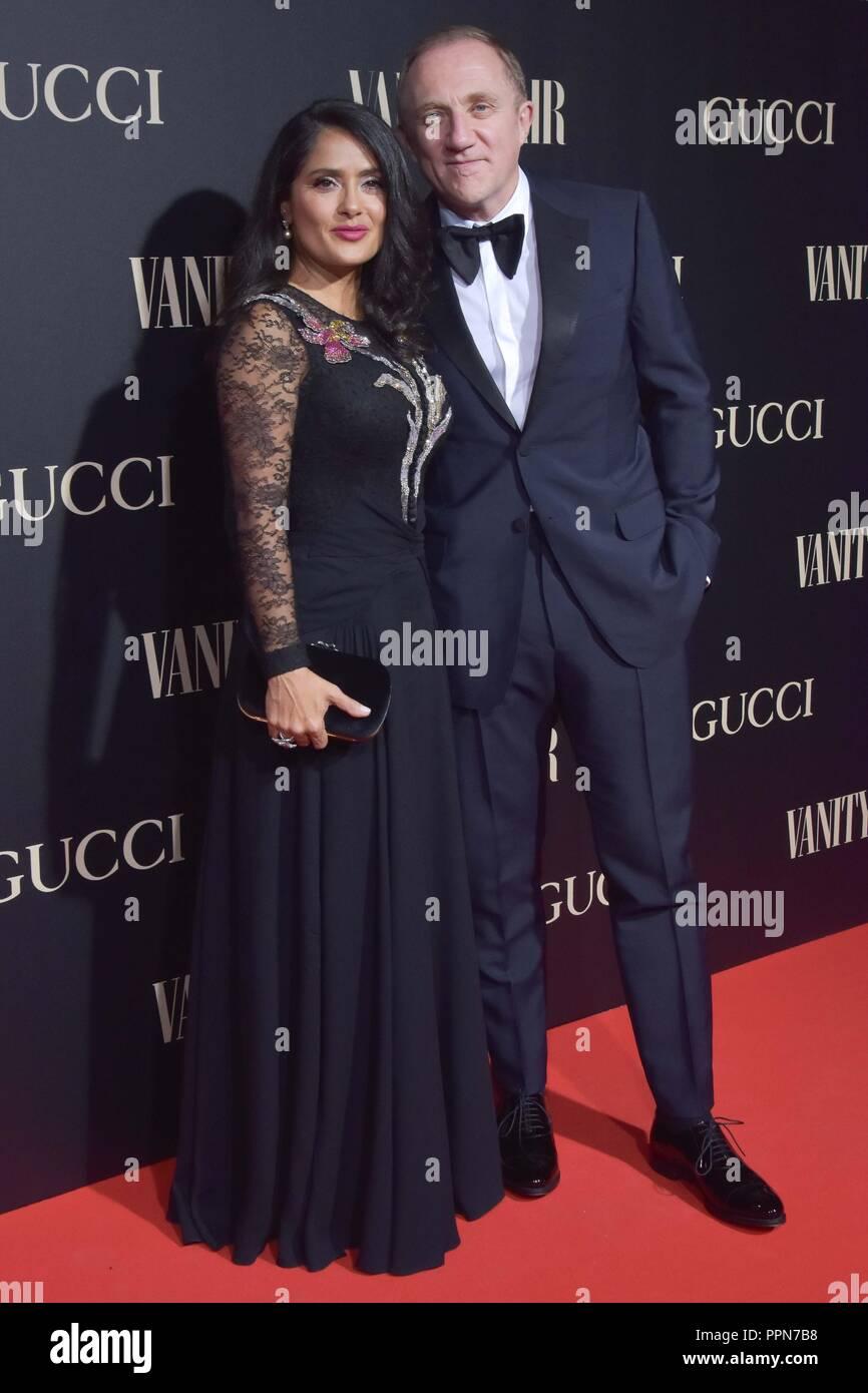 Salma Hayek y su marido François-Henri Pinault, Vanity Fair Personalidad del Año Premios 2018 en Madrid el miércoles 26 de septiembre de 2018. Imagen De Stock