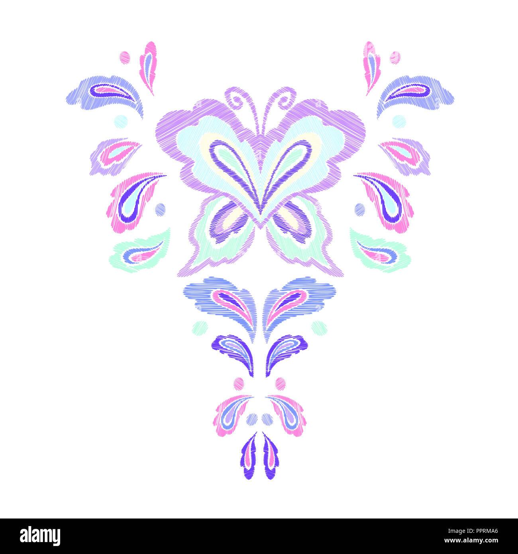Patrón de bordado , escote diseños. Ilustración vectorial dibujada a ...