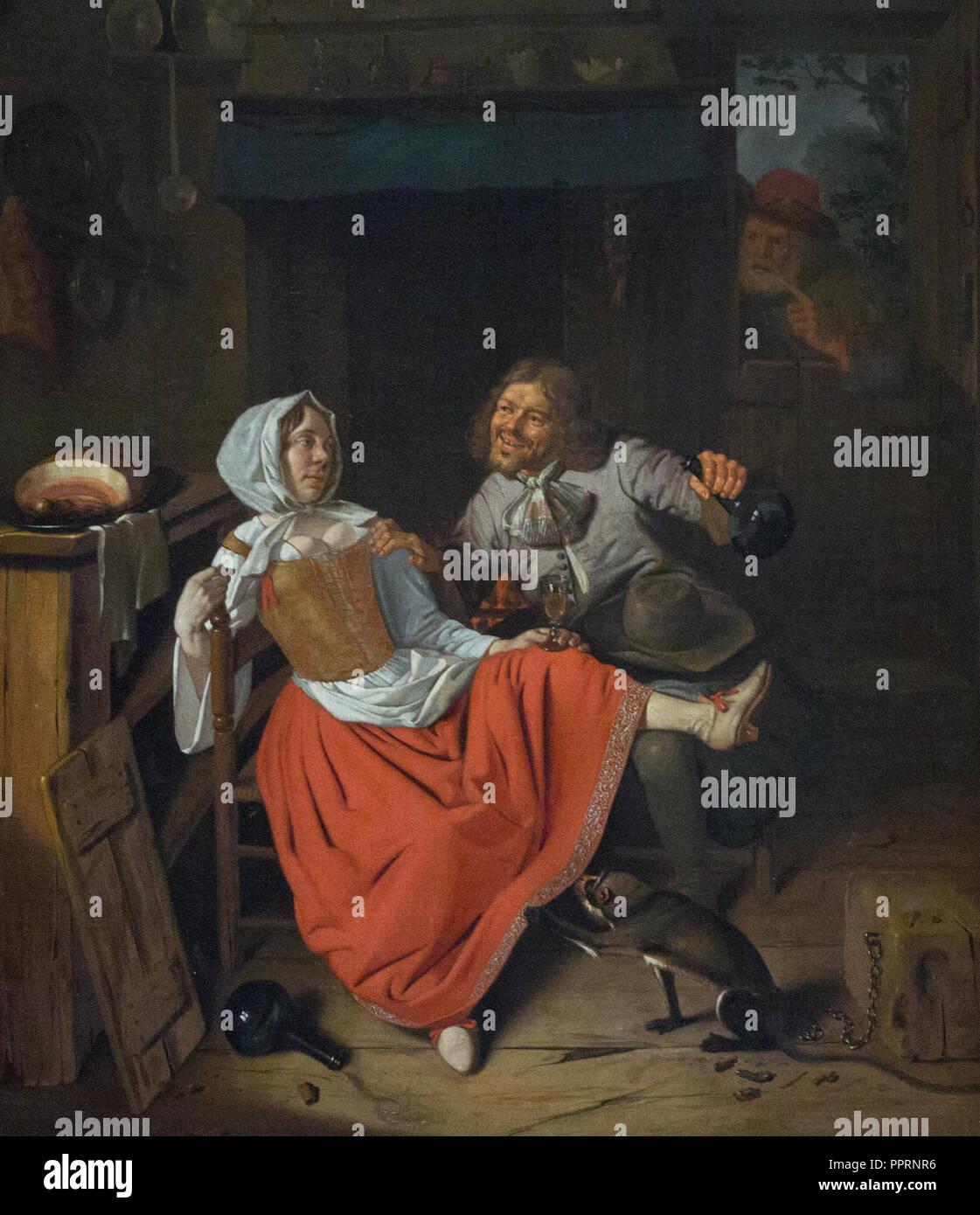 Pieter Gerritsz Roestraten - el licencioso cocina mucama, c. 1665 Imagen De Stock