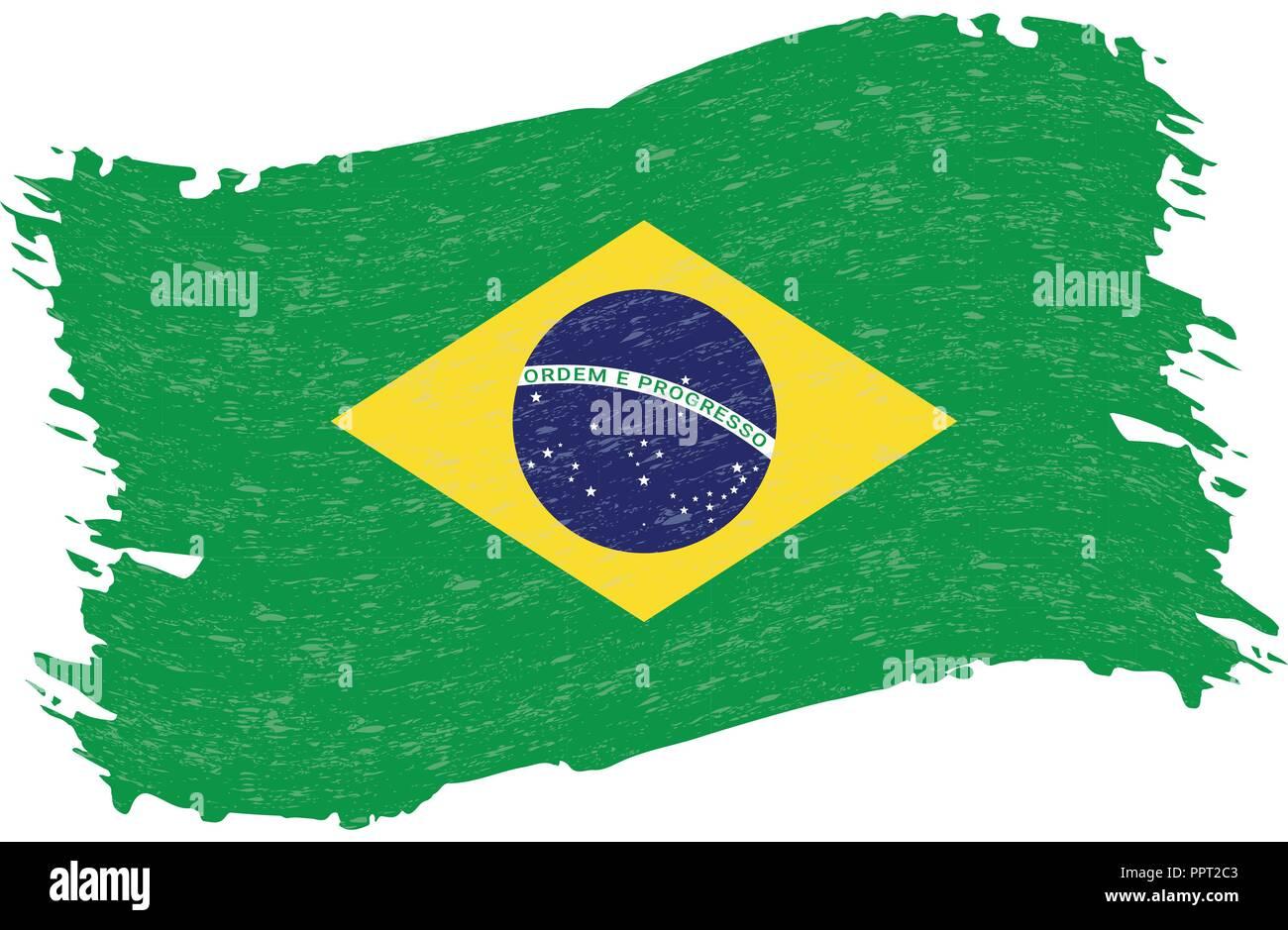Bandera De Brasil Trazo De Pincel Abstracto Grunge Aislado