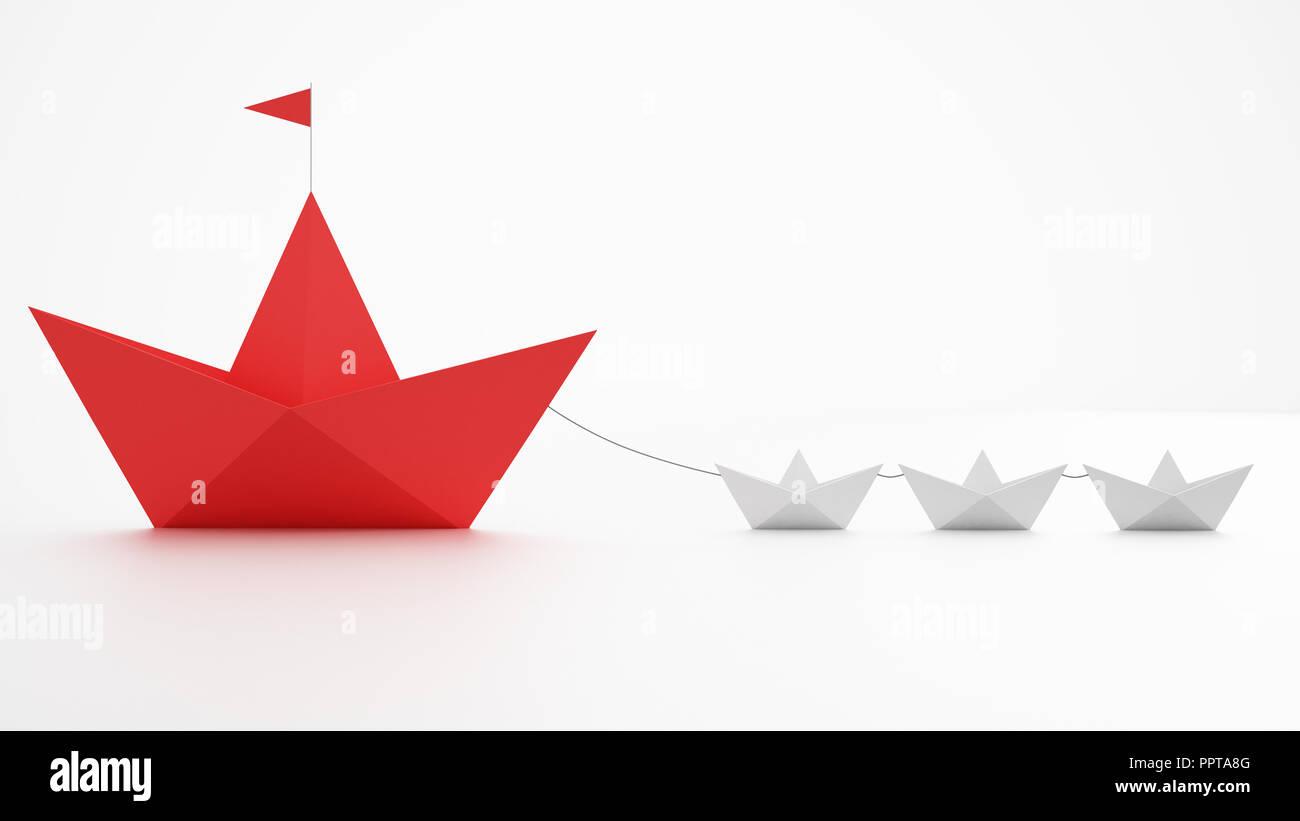 La unidad es la fuerza. Pequeños barcos de papel que remolcar un buque más grande. Concepto de trabajo en equipo y la alianza. 3D Rendering Imagen De Stock