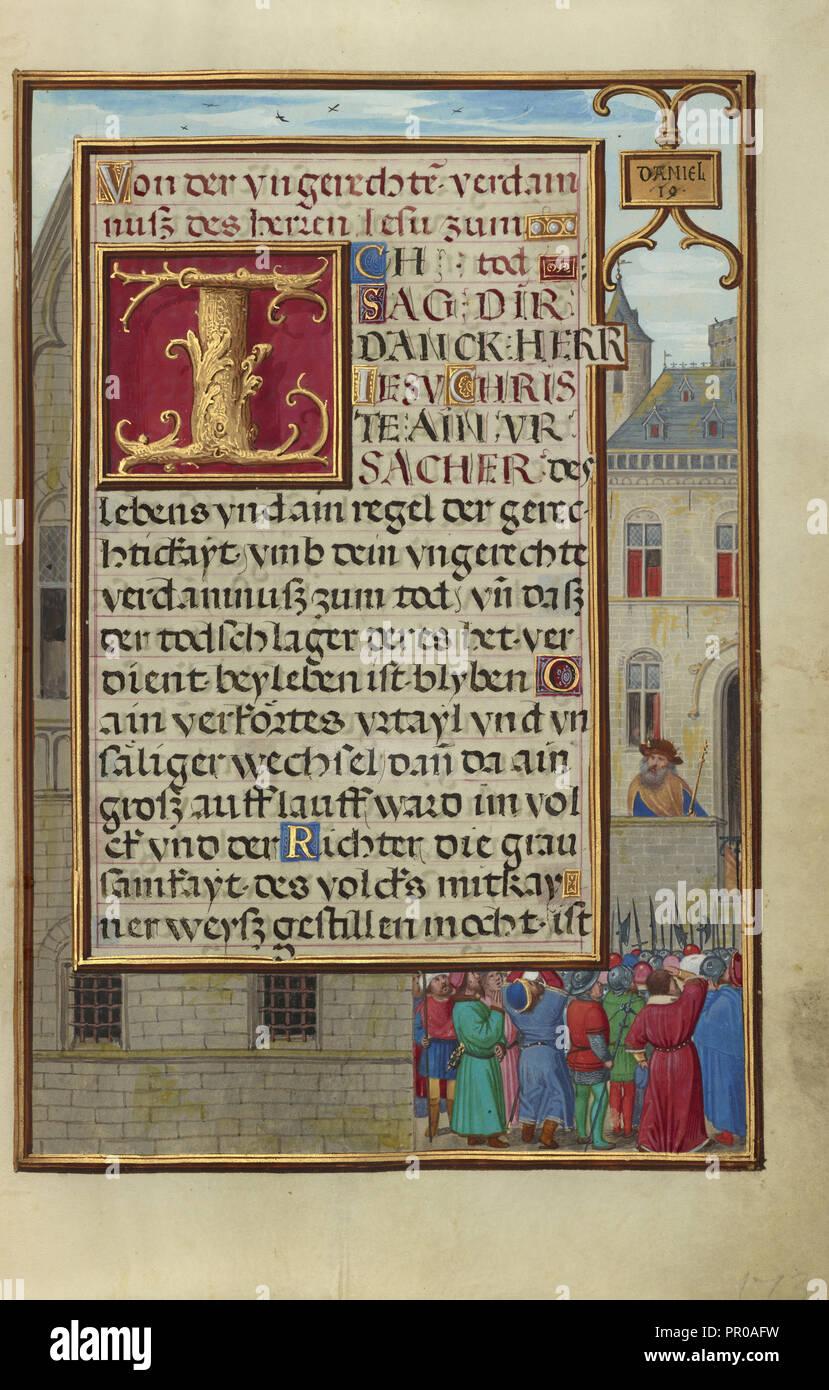 Frontera con la gente exigente Daniel de Cyrus; Simon Bening, flamenco, alrededor de 1483 - 1561, Brujas, Bélgica; alrededor de 1525 Foto de stock