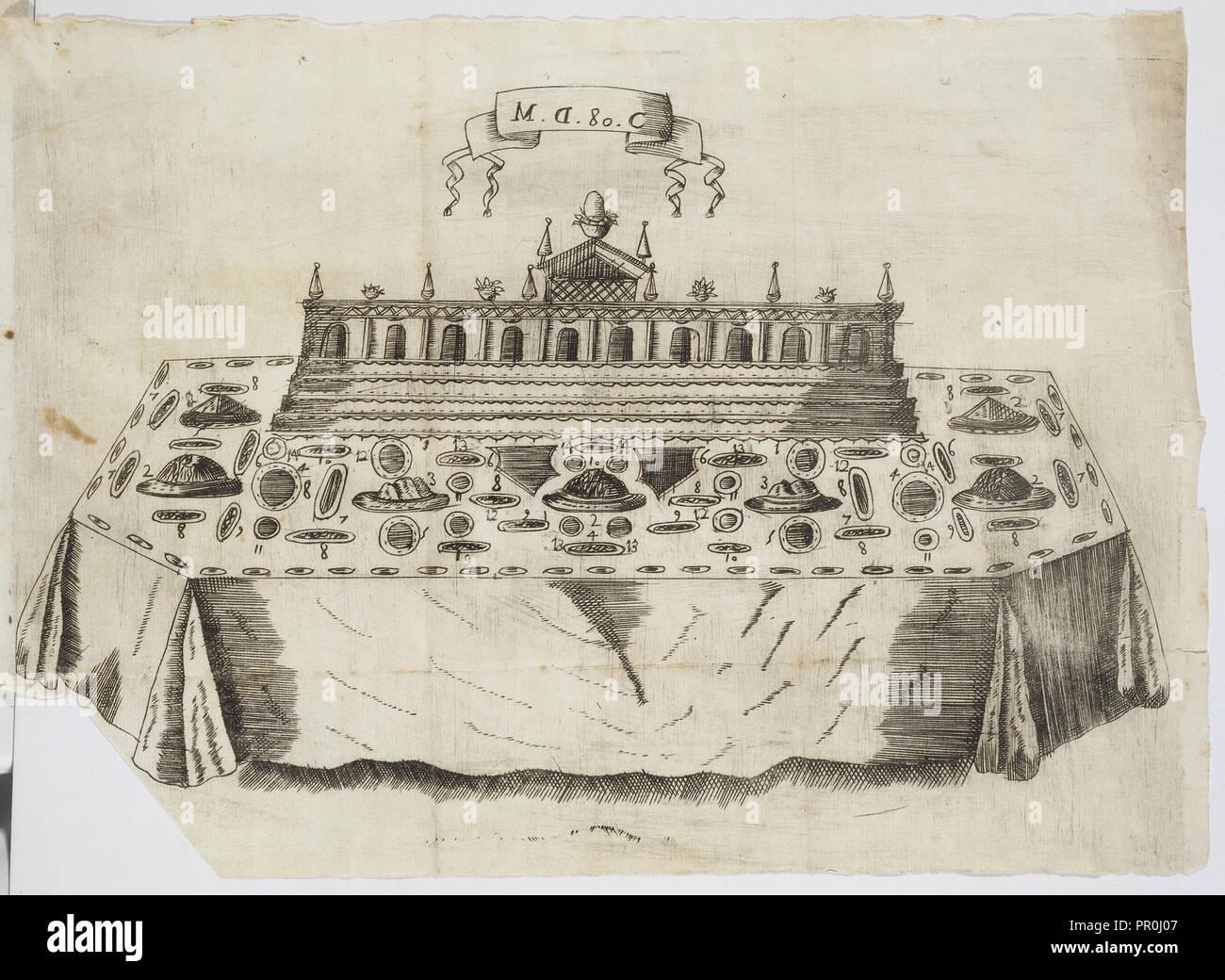 Mesa de 80 cubiertos, el arte de la repostería, en que se contiene todo genero de hacer dulces secos, y en lìquido, vizcochos Imagen De Stock