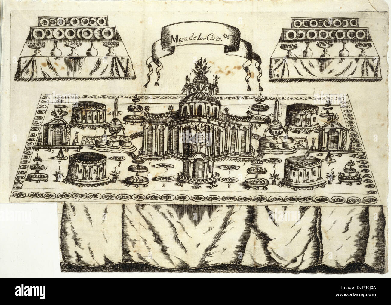 Mesa de 100 cuviertos, Arte de la repostería, en que se contiene todo genero de hacer dulces secos, y en lìquido, vizcochos Imagen De Stock