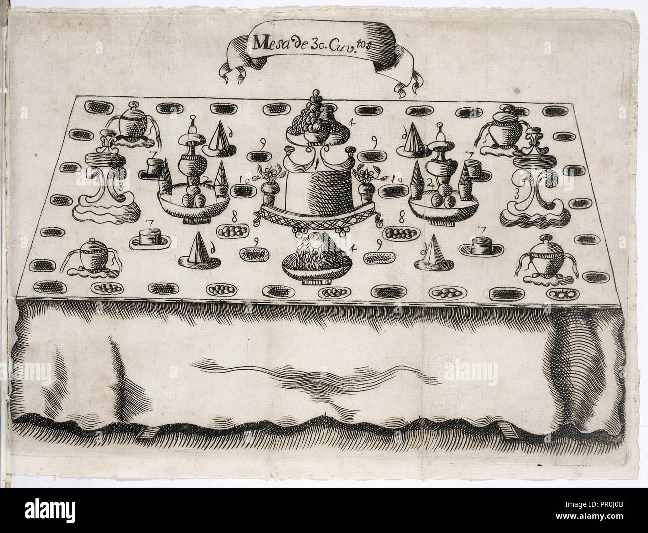Mesa de 30. cuviertos, Arte de la repostería, en que se contiene todo genero de hacer dulces secos, y en lìquido, vizcochos Imagen De Stock