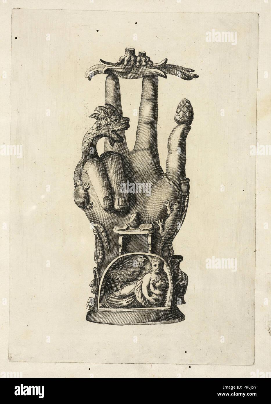 Mano di bronzo, detta Alcuni monumenti Pantea, del Museo Carrafa, Daniele, Francesco, 1740-1812, grabado, aguafuerte 1778 Imagen De Stock