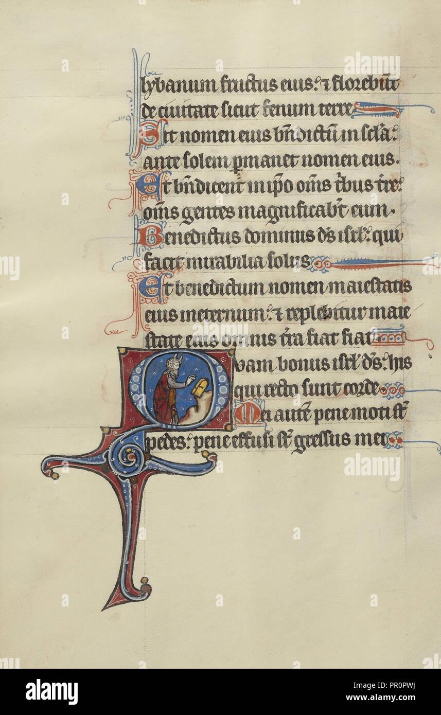 O inicial: Moisés rompe las tablas de la ley; Bute, Franco-Flemish maestro activo, cerca de 1260 - 1290, París Foto de stock