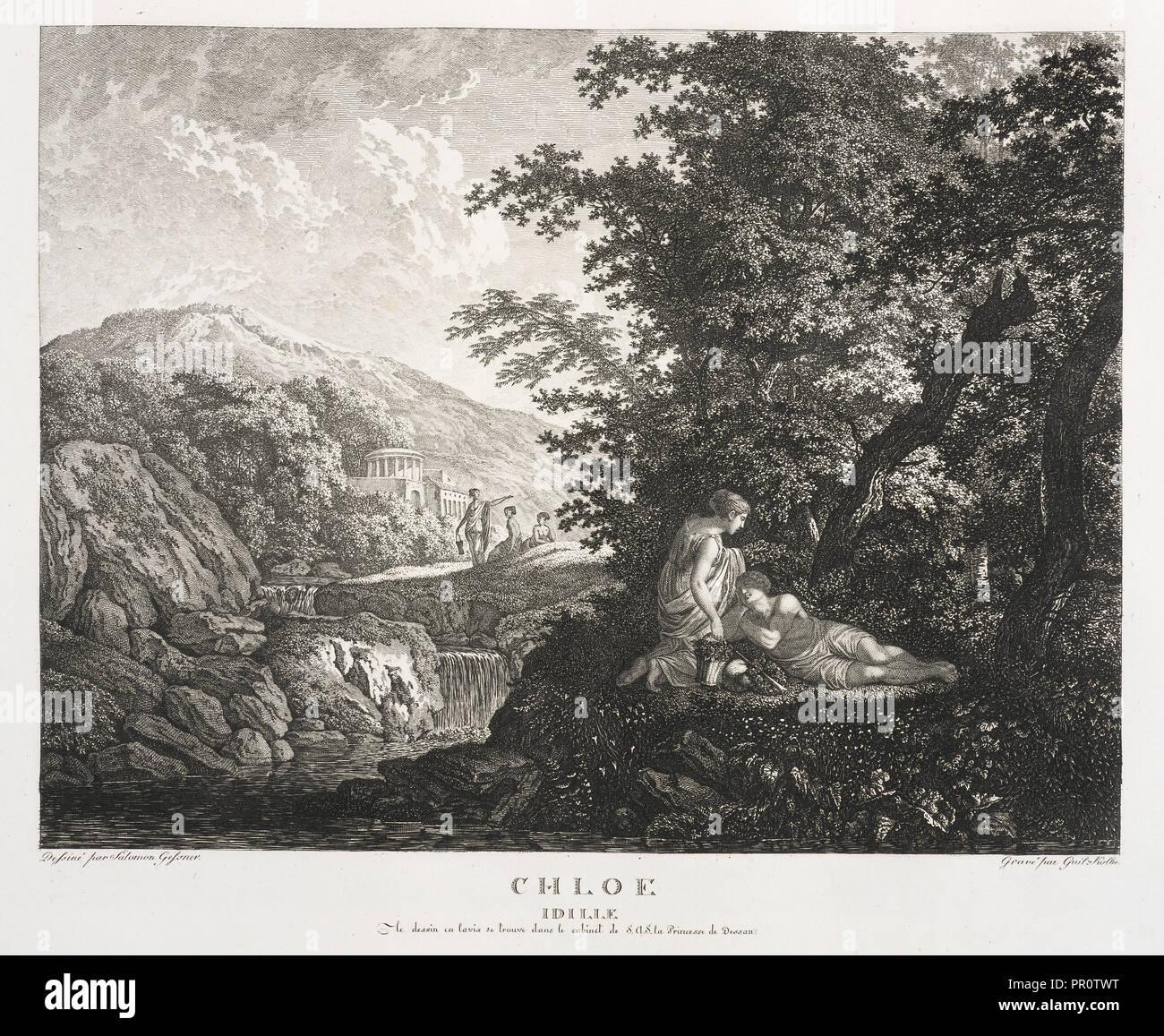 Chloe Idille, Colección des tableaux en gouache et des Dessins de Salomon Gessner, Gessner, Salomon, 1730-1788, Kolbe, Carl Foto de stock