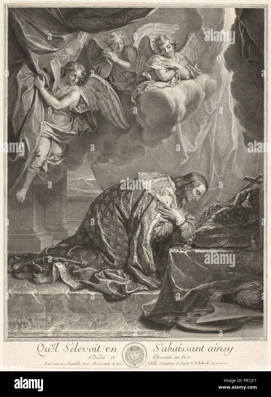 Retrato de San Luis, rey de Francia, Gérard Edelinck, 1640-1707, Charles Le Brun, 1619-1690, grabado en blanco y negro Foto de stock