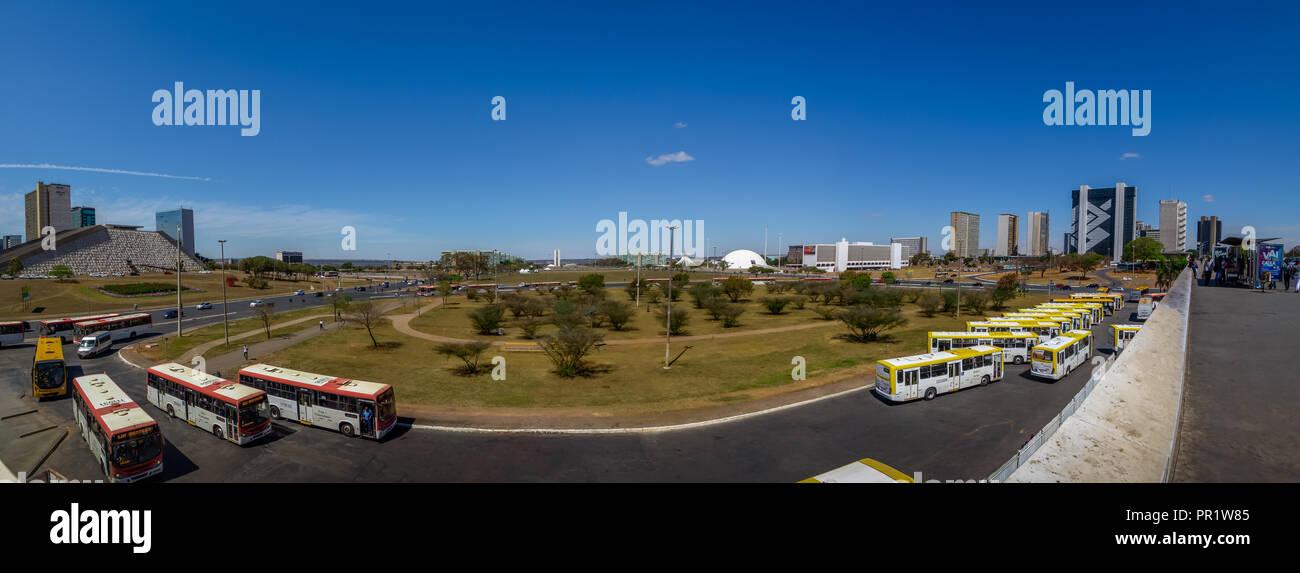 Vistas panorámicas de Brasilia y la Esplanada dos Ministerios (Explanada de los ministerios) - Brasilia, Distrito Federal, Brasil Foto de stock