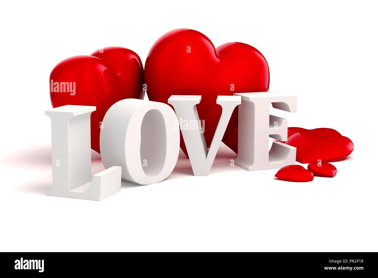 3d Amor Texto Y Grandes Corazones Rojos Sobre Fondo Blanco Foto