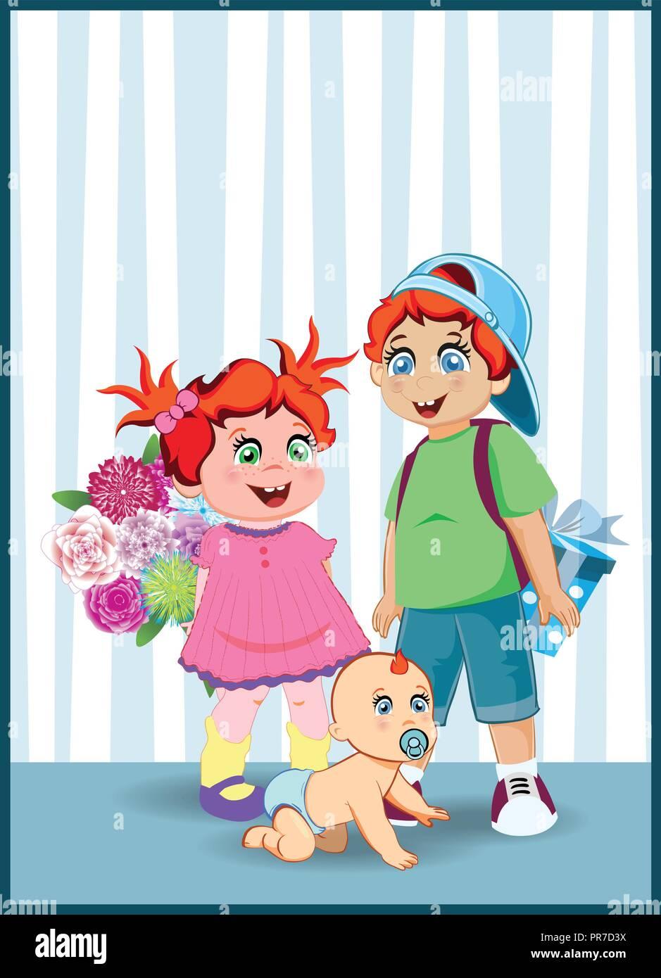 Ilustración Vectorial De Dibujos Animados De Niños Pequeños Y