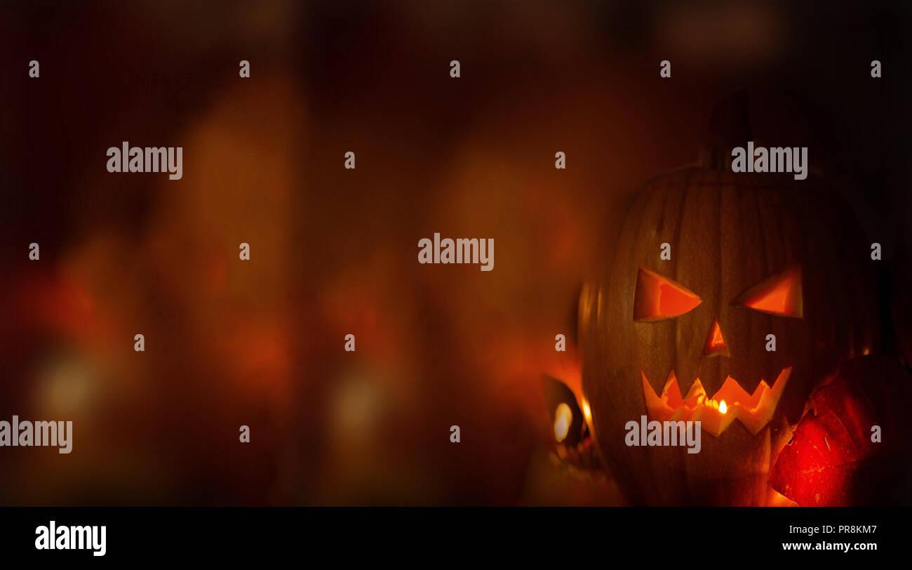 Halloween calabazas en madera en un tenebroso Bosque de miedo en la noche, con luz de fondo Foto de stock
