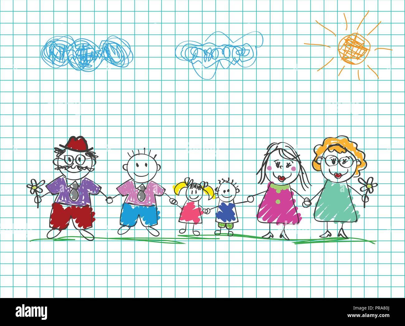 Los Dibujos De Los Niños De La Familia Feliz Lápiz De Color