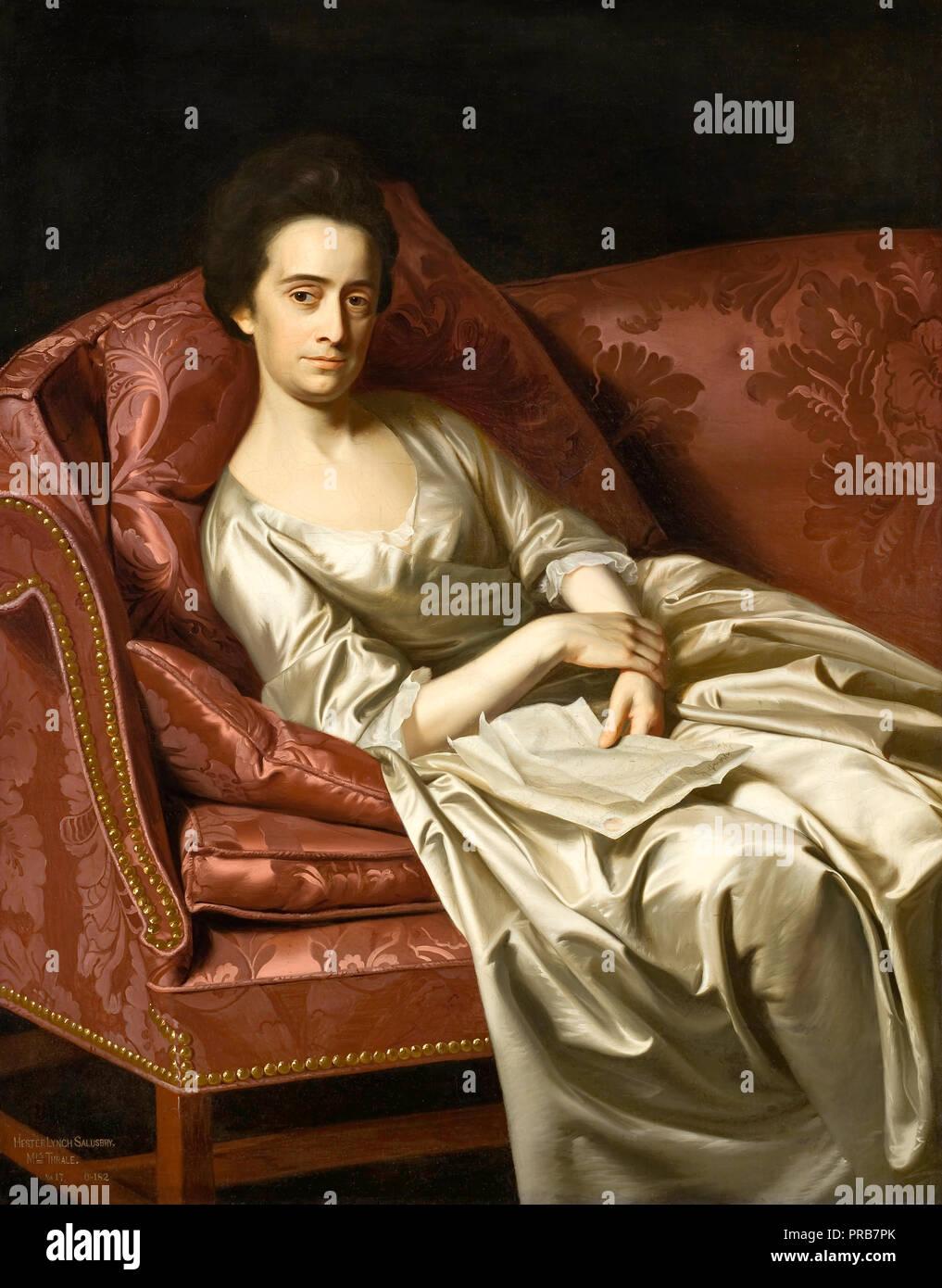 John Singleton Copley, Retrato de una dama 1771 Óleo sobre lienzo, Museo de Arte del Condado de Los Angeles, Los Angeles, Estados Unidos. Imagen De Stock