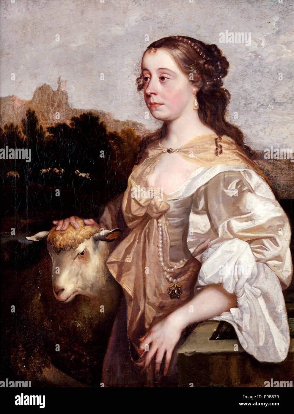 John Greenhill, una señora como pastora, circa 1665 Óleo sobre lienzo, Dulwich Picture Gallery, Londres, Inglaterra. Imagen De Stock