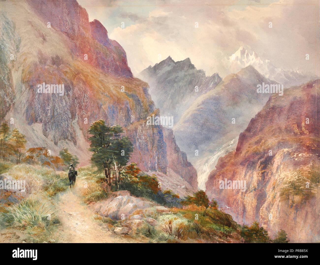 John Gully, en el sur de Los Alpes de 1881 Acuarela, Museo de Nueva Zelanda Te Papa Tongarewa, Wellington, Nueva Zelanda. Imagen De Stock