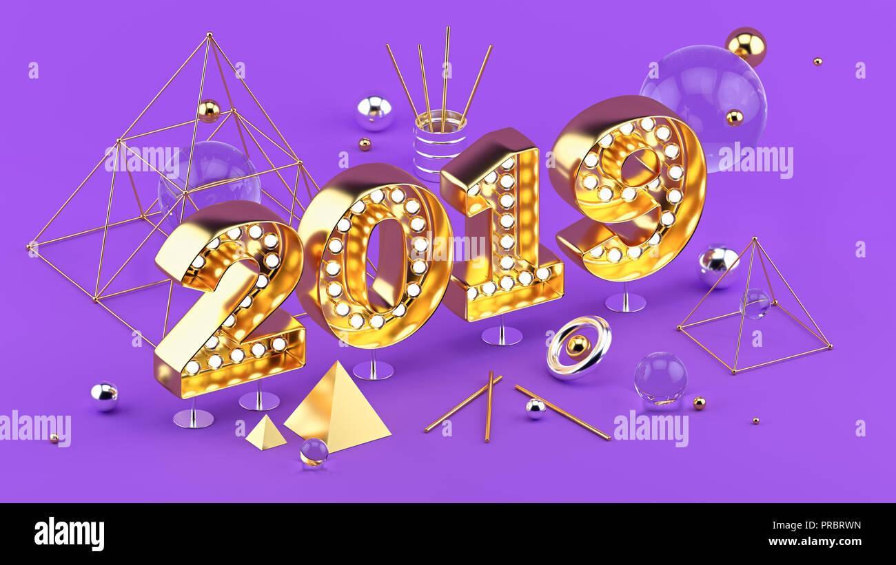 2019 Feliz Año Nuevo 3D isométrica ilustración para cartel o diseño de tarjetas de felicitación. Imagen De Stock