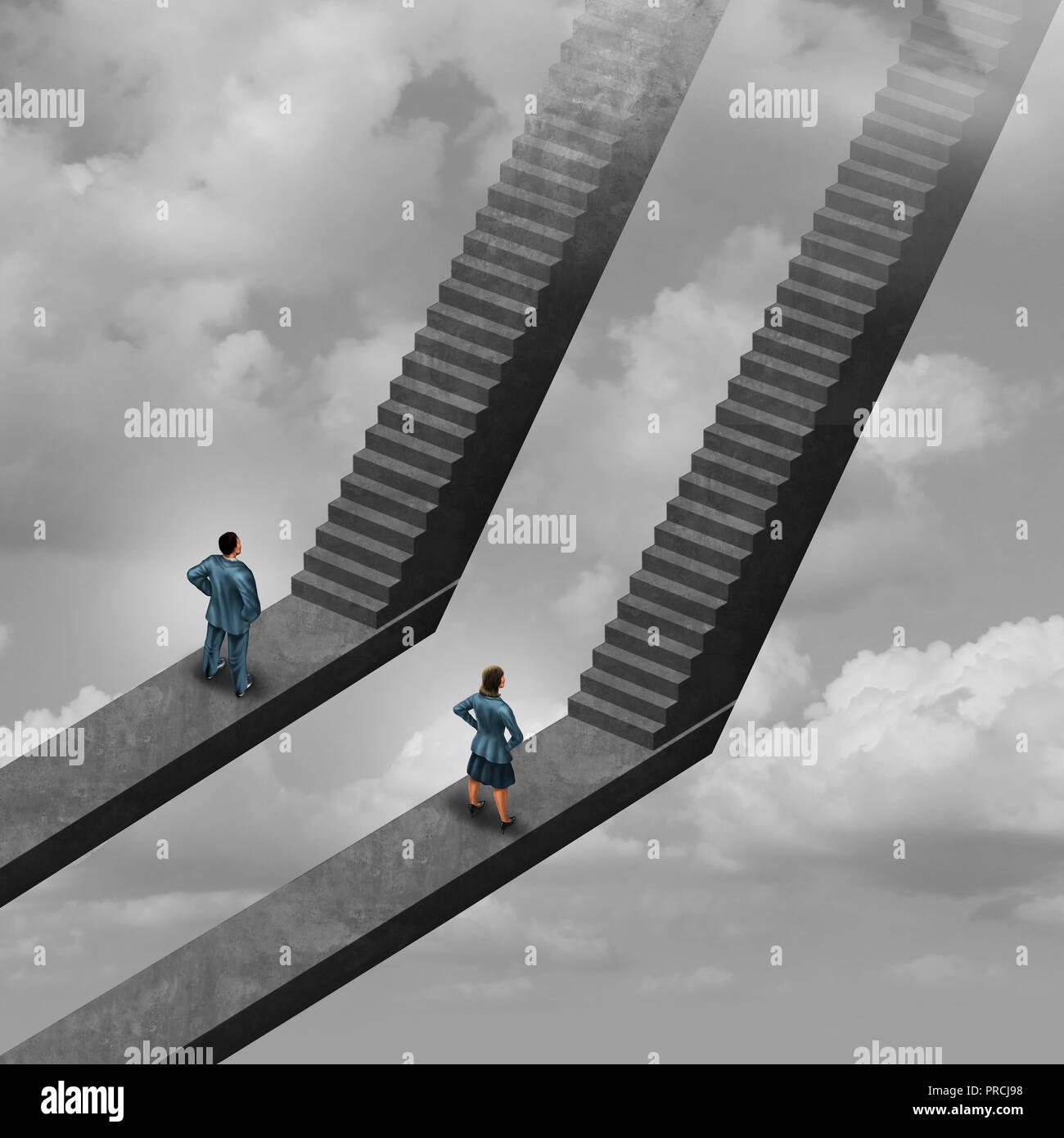 La diversidad en el lugar de trabajo los trabajadores de género como un empresario y empresaria hacia las escaleras como un símbolo de la oportunidad justa en el lugar de trabajo o empleado. Imagen De Stock