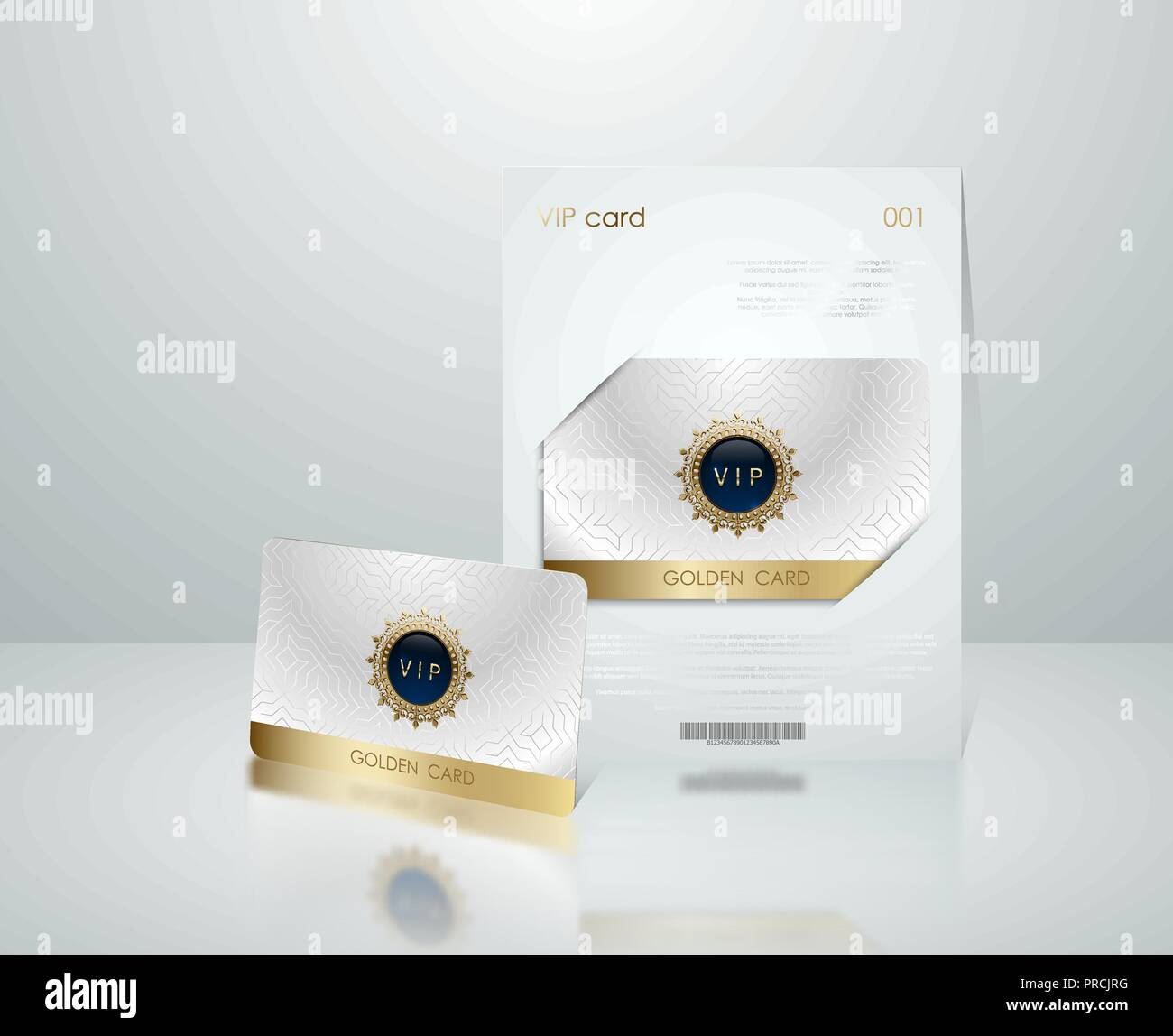 Presentación de la tarjeta vip blanco vectoriales con marco dorado. Membresía VIP o tarjeta de descuento. Tarjeta club de lujo. Cupón Elite Silver. Tarjeta Vip con joya Imagen De Stock